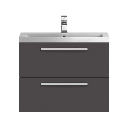 Hudson Reed Quartet Grey Gloss 720mm Wall Hung Cabinet & Basin